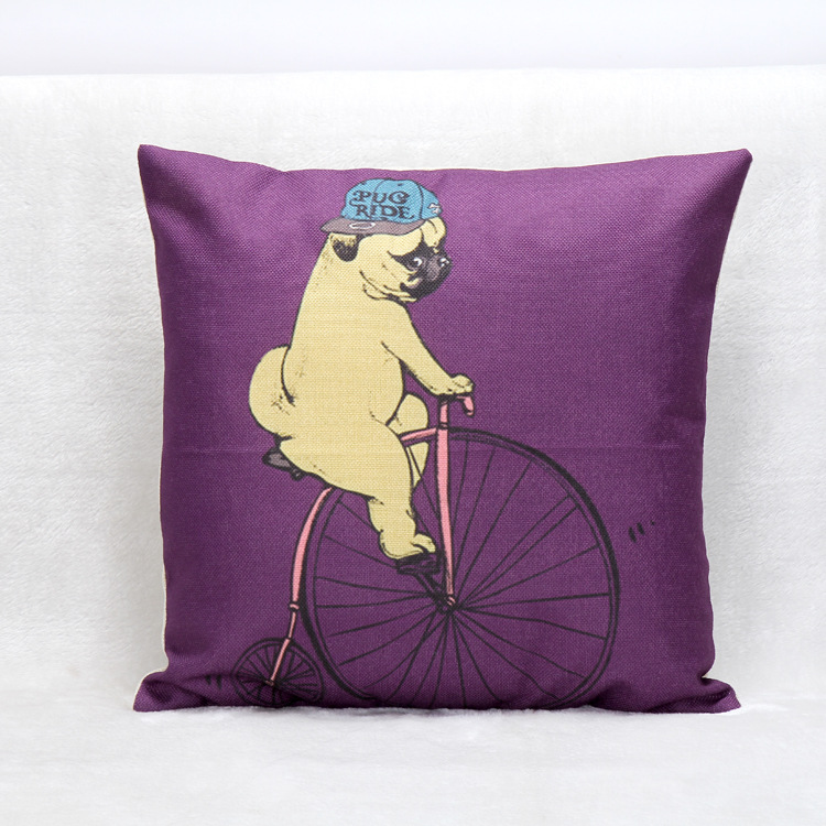 A-LIFE Purple Cotton Linen Cushion Cover wihtout inner french bulldog animal pillow Case Home decorative throw pillows cojin