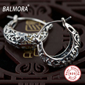 BALMORA 100 Real Pure 925 Sterling Silver Female Fashion Jewelry Hollow Flower Retro Earrings for Women