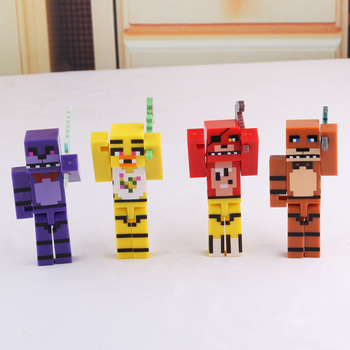 4pcs/set Minecraft FNAF Five Nights At Freddy's 4 Building Blocks Toys Action Toy Figures For Gift