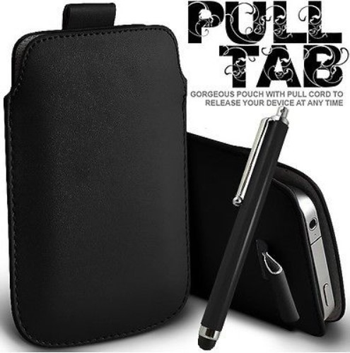 Black Pull Tab Leather Pouch Case Skin & Stylus For SAMSUNG Galaxy S II Epic 4G Touch D710 Sprint(China (Mainland))