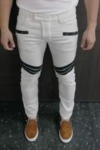Free shipping Men's Biker Jeans Jeans Stripe Spliced Slim Low 2016 New Men Balmai Stylish And Cloth Stitching Stretch Locomotive