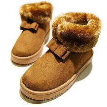Agradable Nuevo Estilo Fur Dentro de Botas Para la Nieve de Invierno de Las Mujeres de las mujeres Zapatos de Diseño Zapatos de Moda Bowknot del Conejo del Zorro Artificial(China (Mainland))