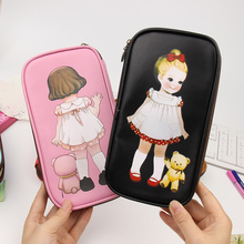 1 PCS Different Style Little Girls Pencil Bag PU Leather Pencil Box Stationery Students Essential Supplies(China (Mainland))