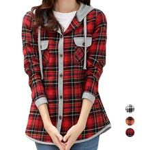 Women Classic Long Sleeve Lady Casual Checks Plaid Hoodies Shirts Top Blouse(China (Mainland))
