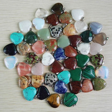 wholesale love natural stone heart pendants mixed charms Assorted  stone Good Quality pendants for jewelry making 50Pcs/lot free(China (Mainland))