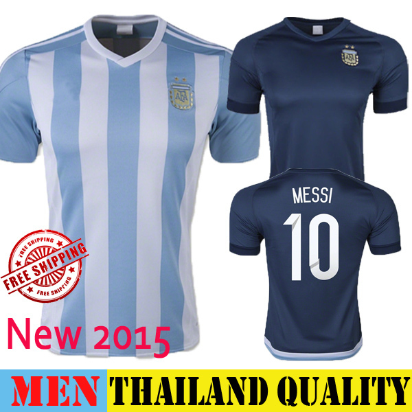 2015 Argentina Soccer Jersey New Away Blue 15 16 MESSI Argentina Football Shirt Home KUN AGUERO HIGUAIN DIMARIA National Uniform(China (Mainland))