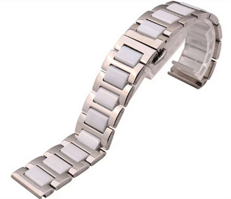 High quality Watches band Straps Bracelets 16mm 18mm 20mm Stainless steel wrap Ceramic White Black Fashion Watches band Hot 2015