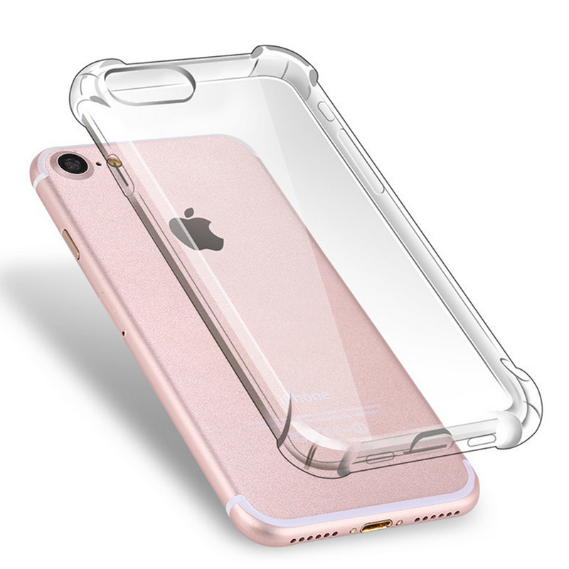 Anti Knock Air Cushion Clear Transparent Thick Soft TPU Case For iPhone 7 6s 6 Plus 5 5s SE Phone Case(China (Mainland))