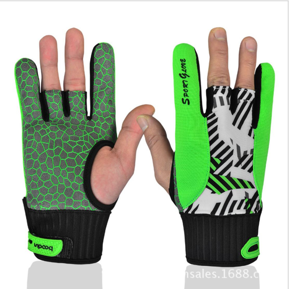 Professional bowling ball gloves Comfortable Bowling silicone anti skid bowling gloves semi-finger instruments sports Gloves(China (Mainland))