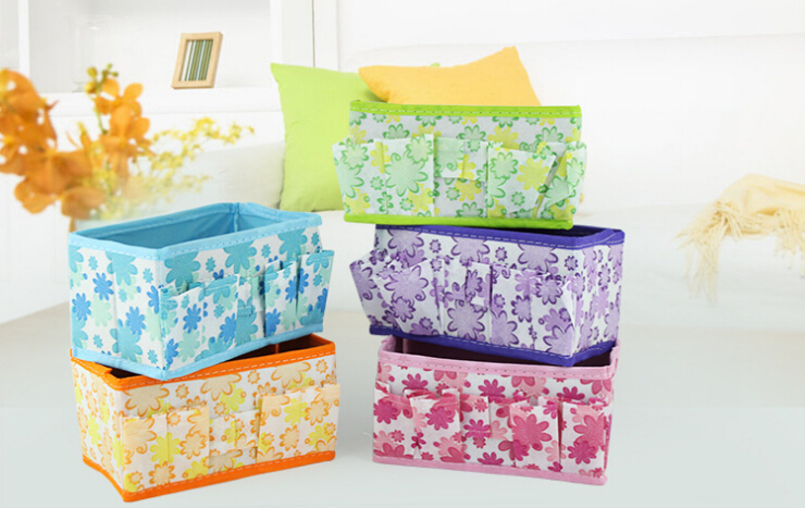 the fashion pastoral floral storage box table box canvas folding rectangle make up storage box office organizer free shipping(China (Mainland))