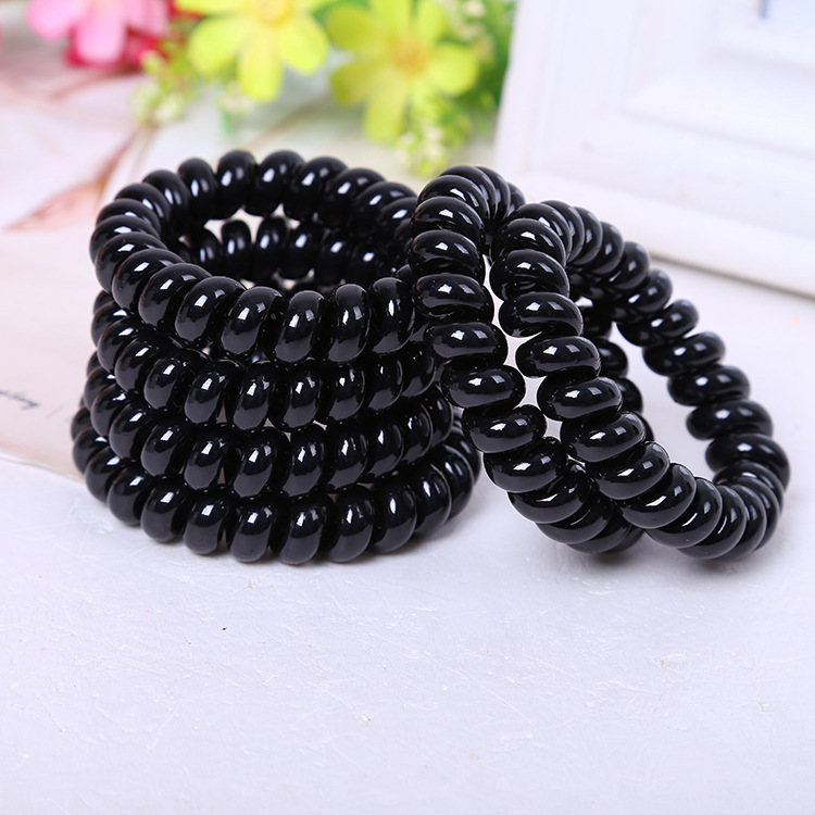 2015 Hot sale , black hair rope, PLUS black telephone line hair ring, rubber band hair jewelry wholesale(China (Mainland))