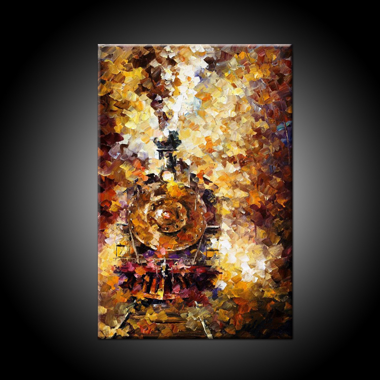 Pop Seller Simple Color But Beautiful Impression Golden Train Oil Paiting On Canvas Handmade Knife Painting Train Picture(China (Mainland))