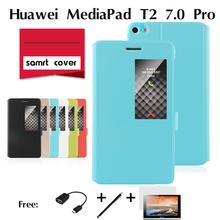 Para huawei mediapad m2 telefone coldre 7 polegada tablet shell de proteção do computador ple-703l janela flip fique pu caso capa de couro(China (Mainland))