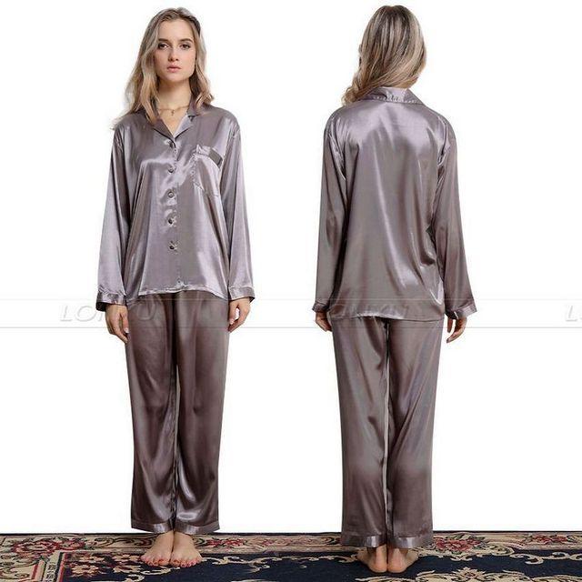 Женская Шелковый Атлас Пижамы Набор Пижамы Пижамы Набор Пижамы Loungewear S, M, L, ...