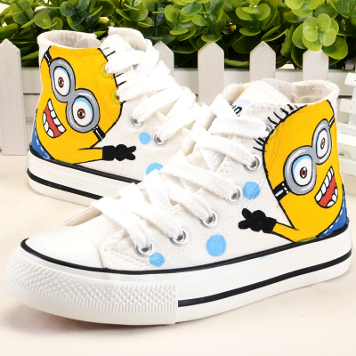 Minions Kids Shoes For Boys Hand-painted Canvas Shoes For Girls Doraemon Pattern Boys Shoes Children Sneakers High Top Sneakers(China (Mainland))