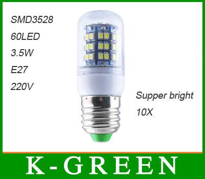 Здесь можно купить  wholesale high quality 10pcs/Lot  60led 3528SMD E27 220V 3.5w led corn light  free shipping  Свет и освещение