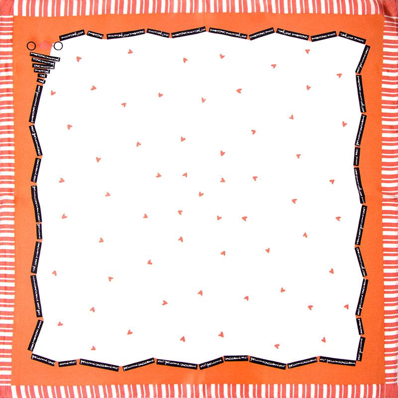 100% Silk Scarf Women Scarf Heart Neckerchief Scarf Silk Bandana Handkerchief 2016 Small Square Silk Scarf Luxury Gift for Lady(China (Mainland))