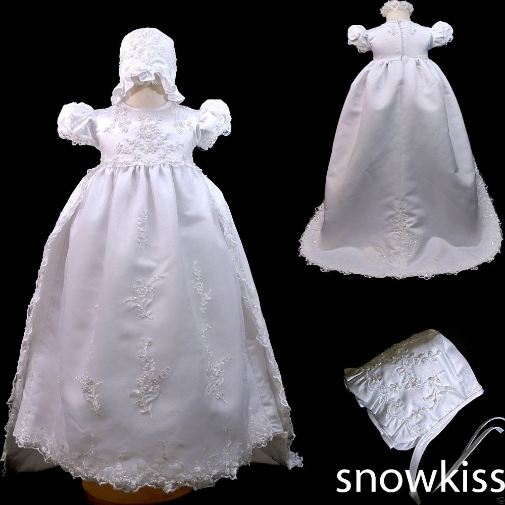 Beaded Blings Christening Dresses with Bonnet Lace Appliques Silk Puff Short Sleeves Baby Baptism Robe Gowns For boys girls(China (Mainland))