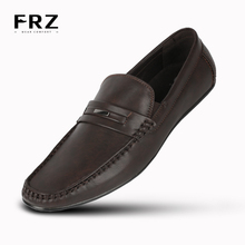 FRZ Brand NEW Dating Men Flats Shoes Breathable Action Leather Slip-on Buckle Men Loafers Brown Big Size CE86812BN