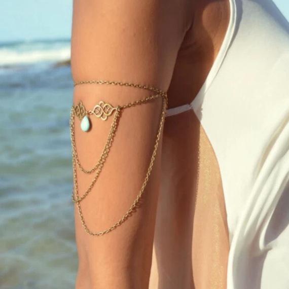 Bronze Arm Chain Women Upper Arm Bracelet Sexy Tassel Body Chains Arm Cuff 2015 Vintage Braclet