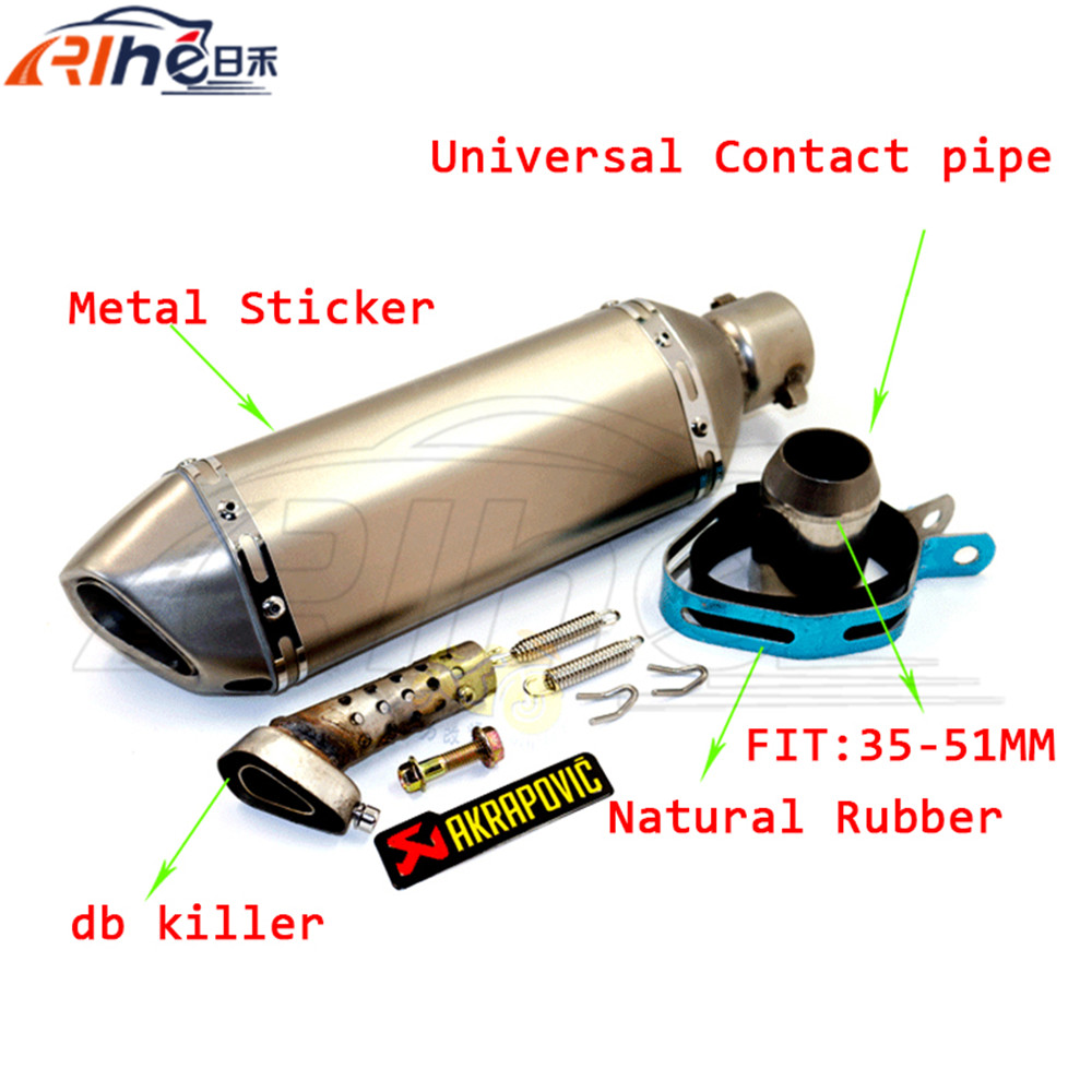 2015 AKRAPOVIC motorcycle accessories exhaust pipe muffler pipe 51mm For JOG RSZ CBR YZF YBR TTR 50cc 100cc 125cc 150cc 200cc R6(China (Mainland))