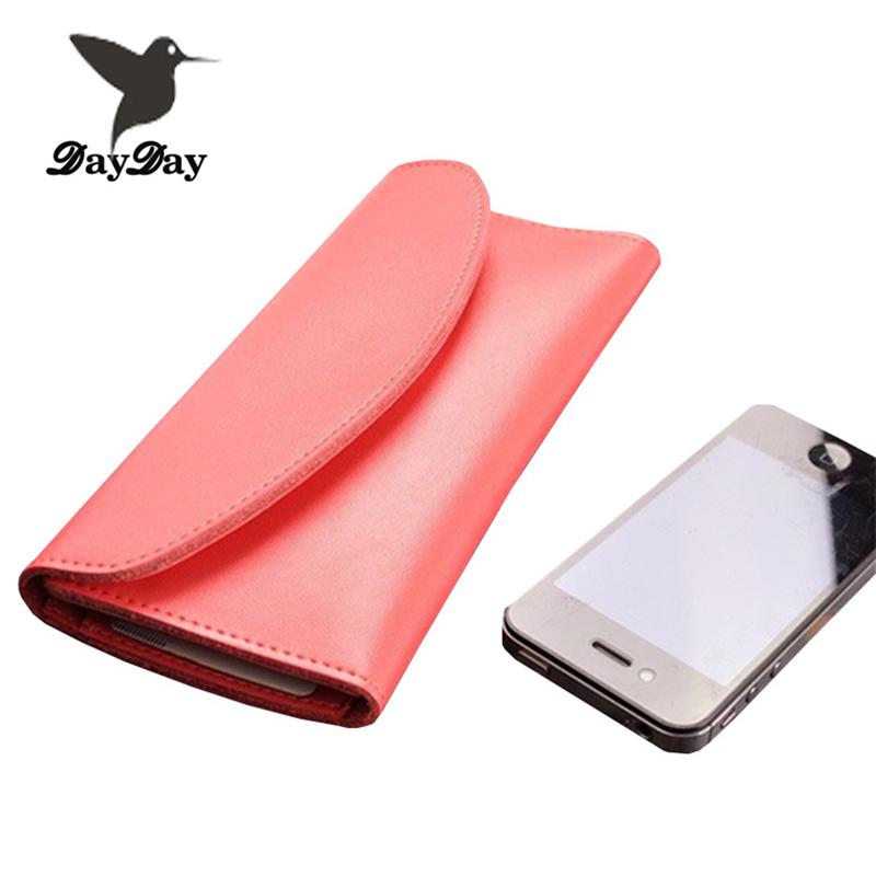 2015 New 100% pure genuine leather women wallets fashion solid long lady purse korean style 13 candy color free shipping(China (Mainland))