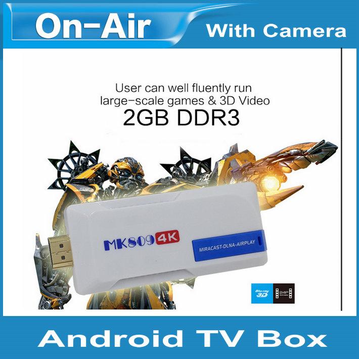 Free shipping MK809 4K TV Dongle Android 4.4 Mini PC Box TV Stick 2GB RAM 8GB ROM Bluetooth smart TV Box 4K TV Dongle With WiFi(China (Mainland))