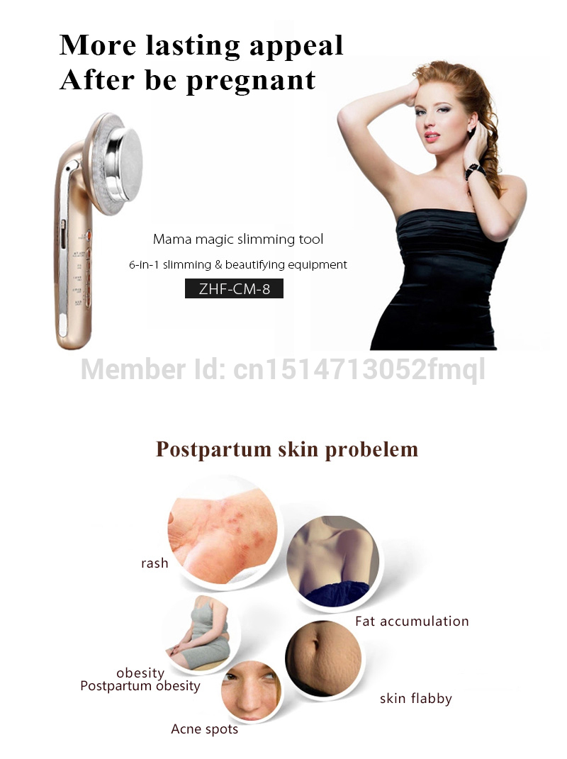 goodwind CM-8 6 IN 1 beauty care Professional Body Sculptor Massage Galvanic sonic Magic Golves slimming therapy masajeador Gold