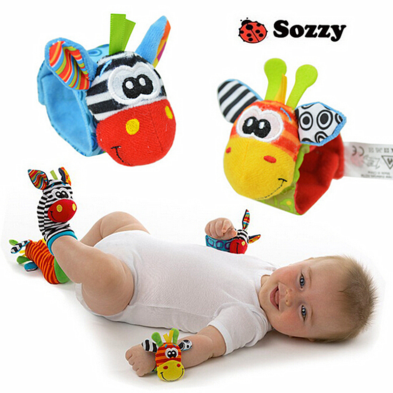 2pcs/set Baby Rattles & Mobiles Soft Baby Toy Wrist Band Wrist Watch Band Rattles Cute Cartoon Garden Bug Plush Rattle #F(China (Mainland))