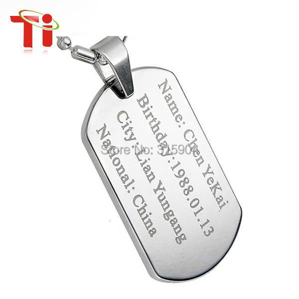 2015 new Customize diy your pendant ID tag can engrave photo pendant tungsten dog tag for man tungsten pendant and necklace(China (Mainland))