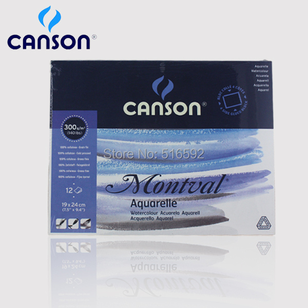 Canson Montval aquarelle 300gsm watercolor paper for watercolor paint, 12 sheets rough, 190*240mm, high quality(China (Mainland))