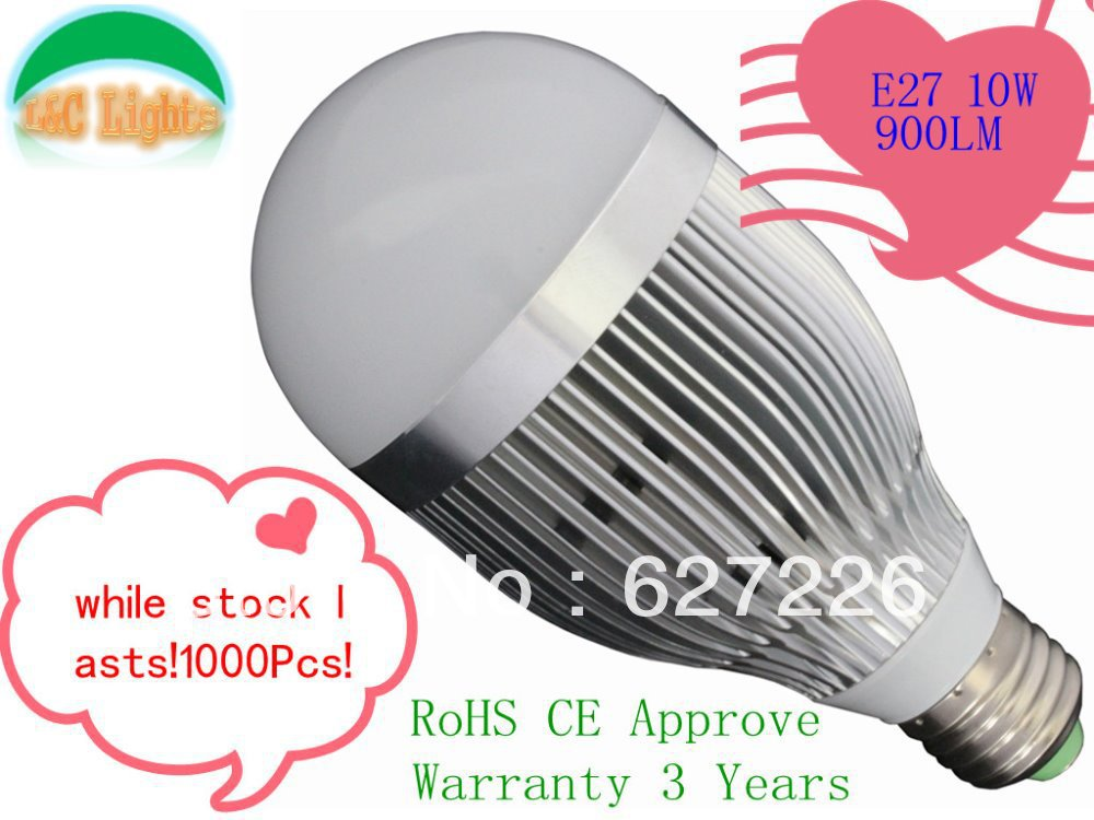 2013 NEW!Free Shipping 10W 950LM Super Bright E27 LED Lamps,LED Bulb, 10Pcs a lot Lifespan 50000H,Warranty 3 Years<br><br>Aliexpress