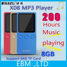 2015 New Ultrathin 8GB MP3 Player 1.8 Inch Play 200 hours,Original RUIZU X08 (x06) mp3 music player With FM,E-Book,Clock,Data(China (Mainland))