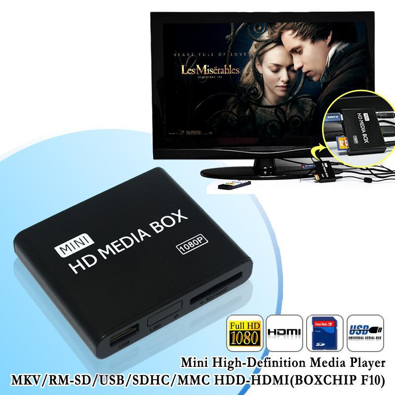 Full HD1080P Mini Media Player MKV/H.264/RMVB SD/MMC USB2.0 HOST External HDD Media Player With Power Adapter(China (Mainland))