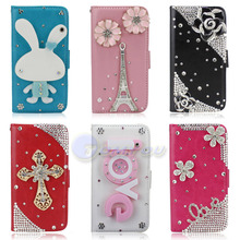 Fashion Cute Cartoon Mirror Flower Tower Bling Diamond Stand Flip Style Leather Wallet Case Cover For iPhone 5 5S Dropshipping(China (Mainland))