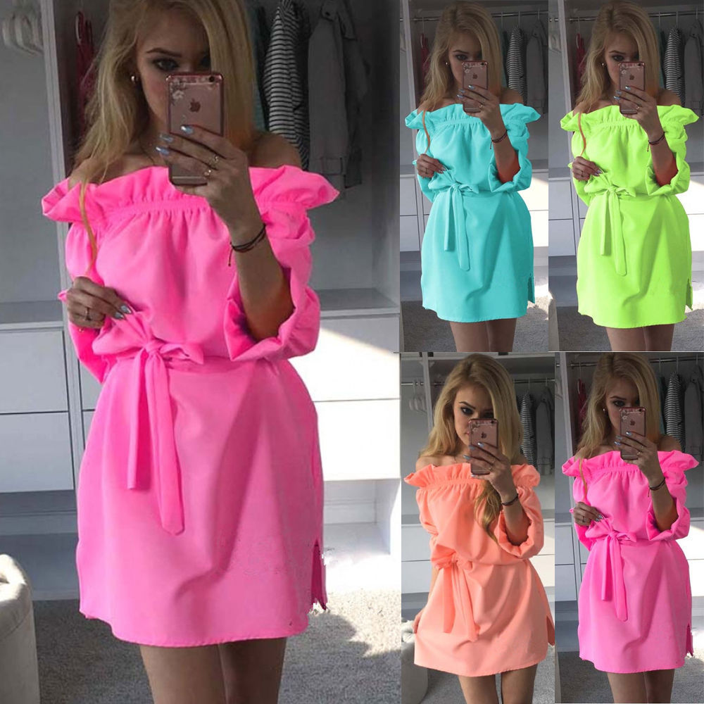 Summer Candy Colors Dress 2016 Women's Sundress Slash Neck Bandage Side Split Solid Mini Dress With Belt Beachwear LX125(China (Mainland))