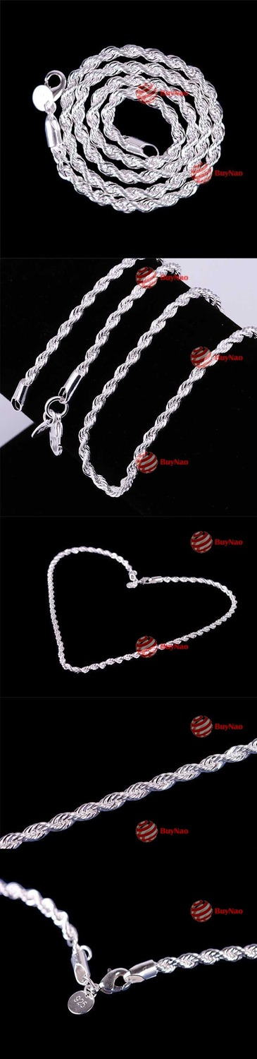 BuyNao Shop 16 18 20 22 24 4MM Fashion Lovely Flash Silver Plated Wrest Rope Chain Necklace N067(China (Mainland))