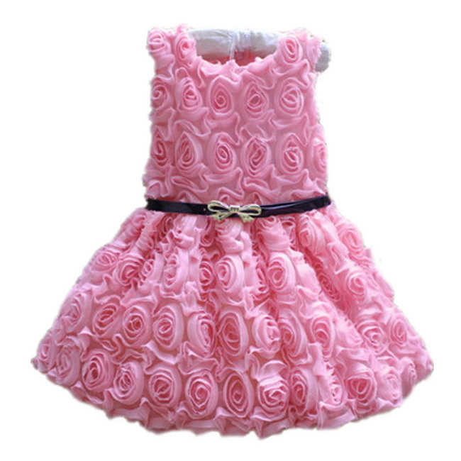 2016 New Kids Girl Dress Rose Baby Princess Clothing Infant Bow Formal Party - Saletoworlds Store store
