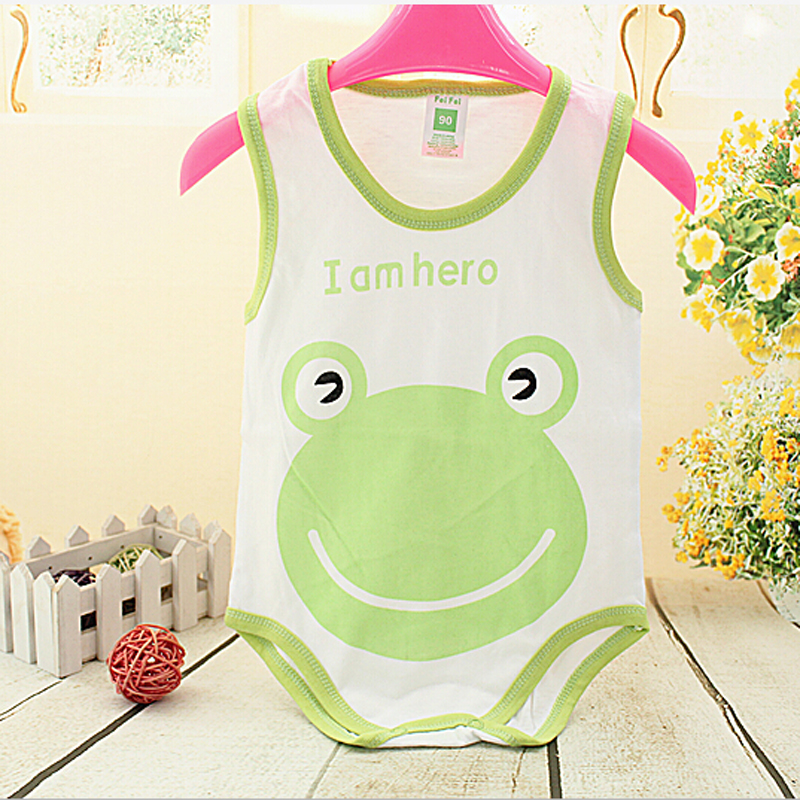 Cartoon Cotton Unisex Baby Rompers Summer Sleeveless Baby Wear Infant Jumpsuit Fashion Boys Girls Clothes Roupas De Bebe Infant(China (Mainland))