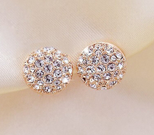 New Round Earrings Full Rhinestones Heart Earrings Earrings For Women(China (Mainland))