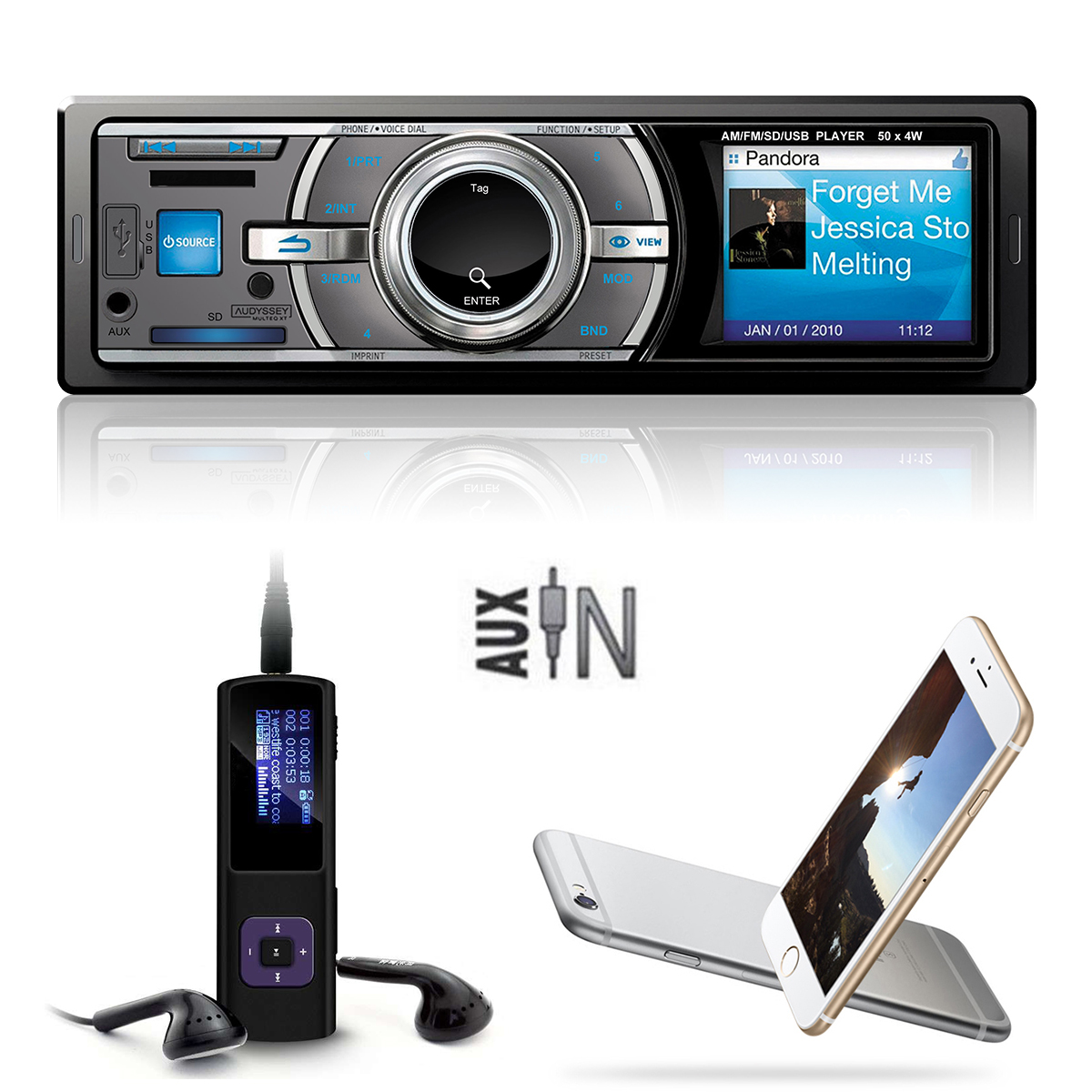 Car Stereo 4CH Audio In-Dash Auto FM Aux Input MP3 Music Radio Player FM Aux Input Receiver SD USB with Remote MA187(China (Mainland))