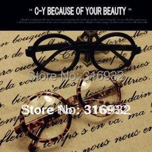 Fashion sculpt decoration plain glasses round plastic glasses frame eyeglasses , with lens