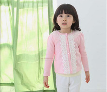kids clothes Candy-colored fashion Cardigan Lace baby girl Lace round neck knit cardigan baby girl Small coat vetement garcon(China (Mainland))