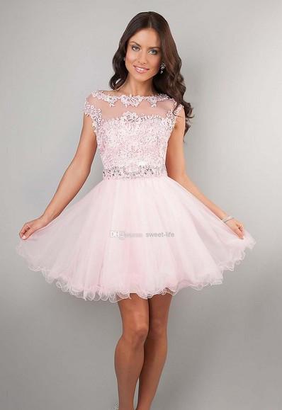wholesaleCute Short Prom Dresses Pink High Neck Beaded Applique See Through Cheap Junior Girls Graduation Dresses Party Dressesc(China (Mainland))