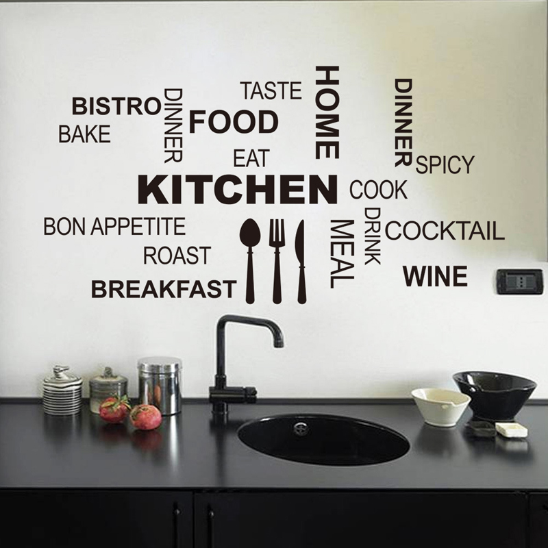 Kitchen Cook Theme Home Decor Creative Wall Stickers Parede PVC Removable Decorative Home Decals Adesivo De Parede Wallpapers
