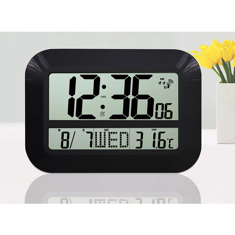 Large Display LCD LED Digital Wall Clock Battery Powered Operated Home Decor Modern Design Indoor Temperature Date Watch Alarm(China (Mainland))