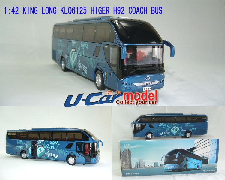 1pcs / lot 1: 43 KING LONG KLQ6125A/B HIGER H92 Coach bus Model car (New Arrival) Bule(China (Mainland))