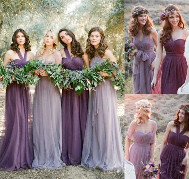 Robes demoiselles d'honneur violettes longues