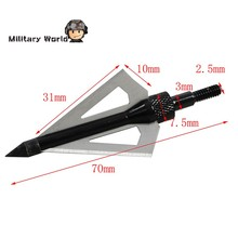 6pcs pack Hunting Shooting Tactical Archery Arrowhead Broadhead 100 Grain 3 Fixed Blades 2 Cutting Steel