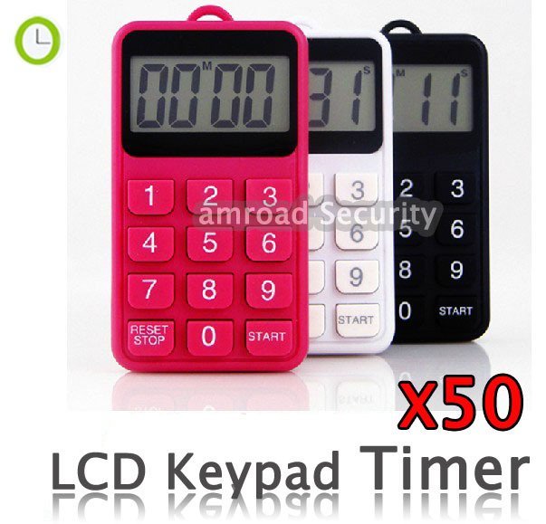 HOT!!! 50pcs LCD Keypad Digital 99 Minutes 59 Seconds countdown/count up Kitchen Cooking Timer Alarm Digital Timer, by DHL/EMS(China (Mainland))